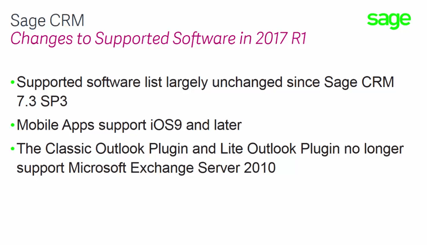 Sage CRM 2017 R2 - Supported Software Changes 2