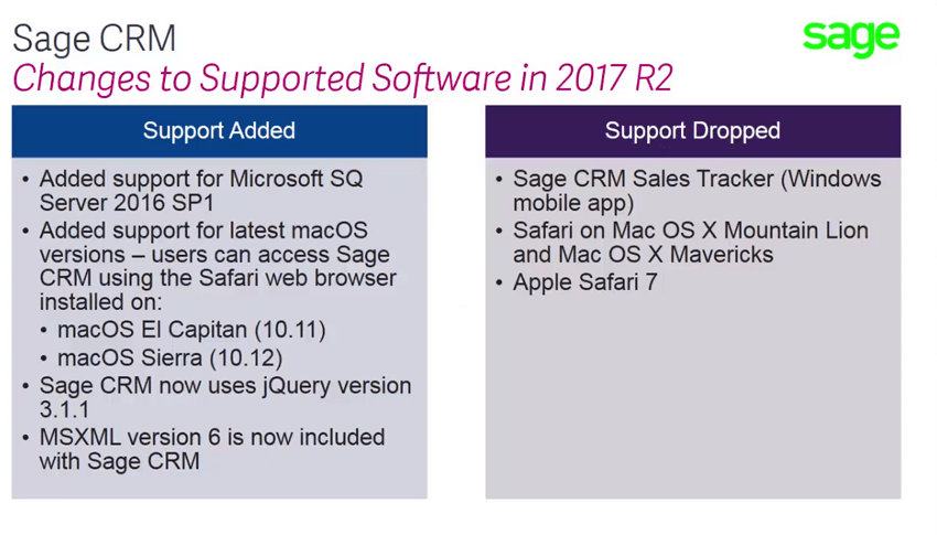 Sage CRM 2017 R2 - Supported Software Changes